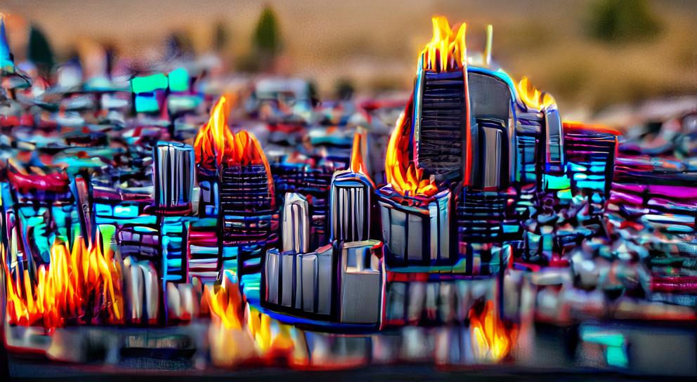 A city skyline burning