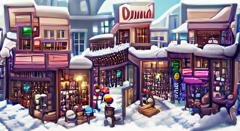 A quaint downtown full of shops in the snow by Thomas Kinkade