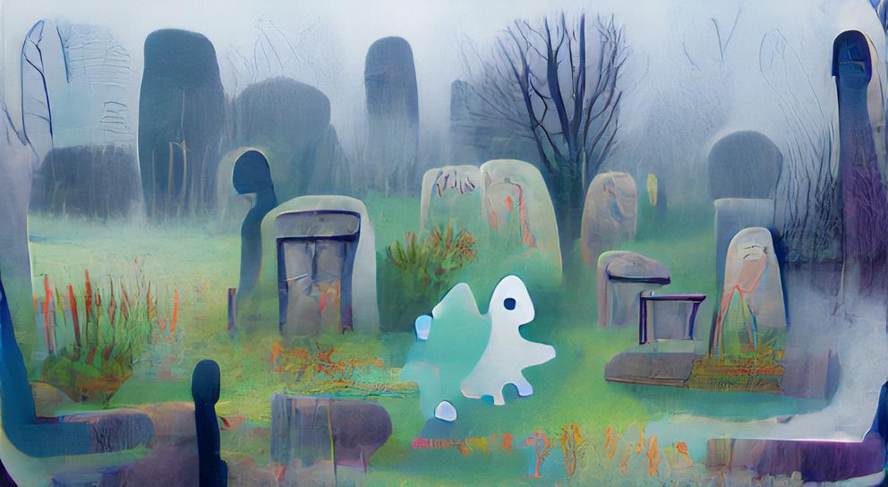 Friendly ghost in a misty graveyard