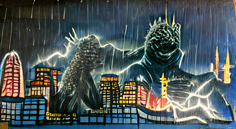 Godzilla attacking a city with his lightning breath at night in the rain
