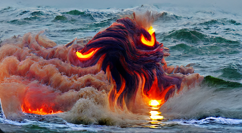 Fire monster rising out of the ocean
