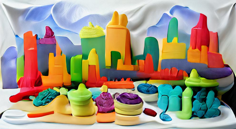 Colorful Play-doh city skyline