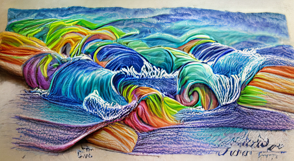 Colorful waves colored pencil sketch
