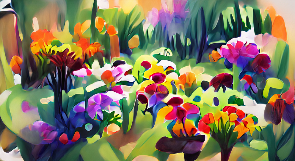 Colorful flowers in a garden speedpainting