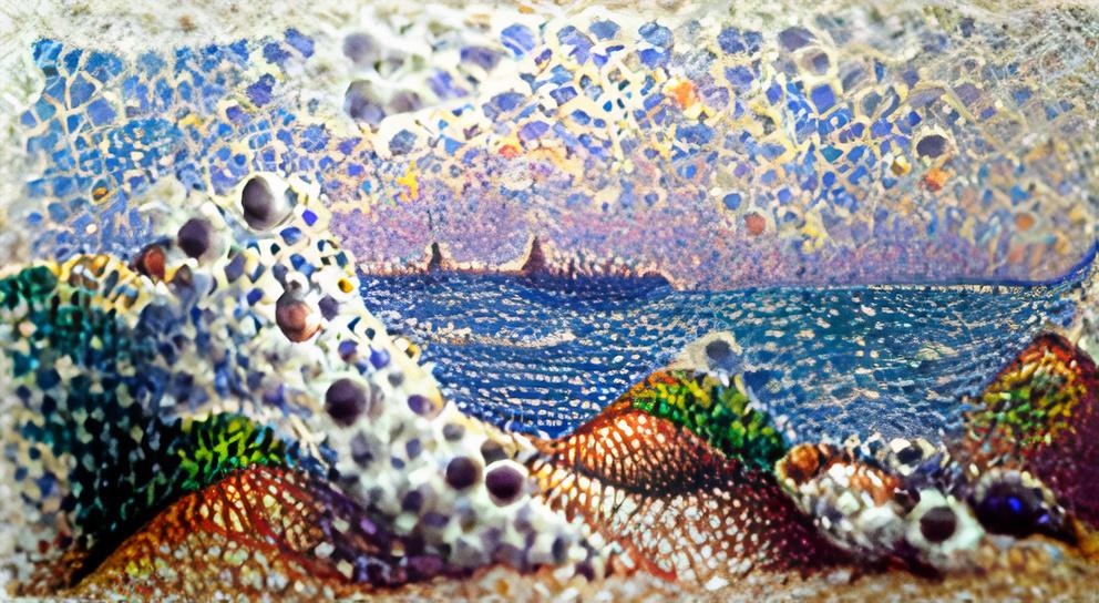 Pointillist seascape