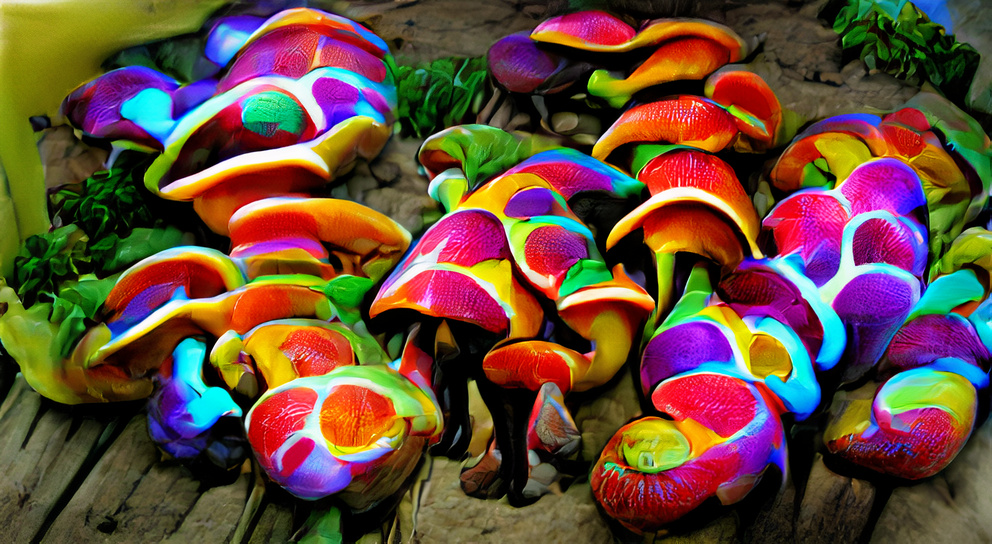 Psychedelic colorful mushrooms